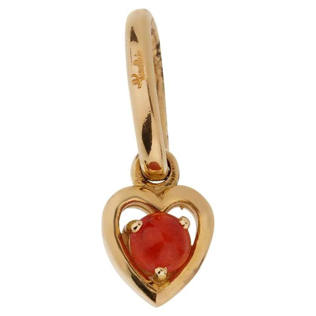 Item - Yellow Gold Coral Heart Charm Pendant 2224