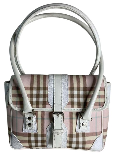 Burberry Tote Haymarket Check Multicolor Leather White Pink Canvas Shoulder Bag Burberry Tote Haymarket Check Multicolor Leather White Pink Canvas Shoulder Bag Image 1