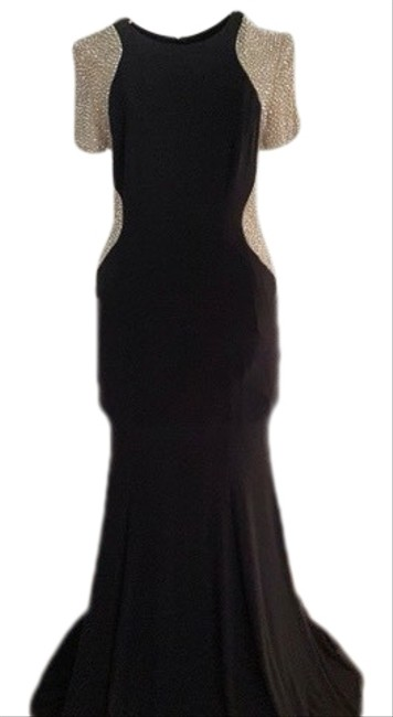 Item - Black with Nude Rhinestone Sleeves Rare Short Beaded Gown Long Formal Dress Size 6 (S)
