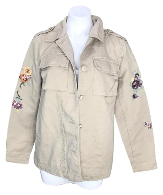 Item - Tan Floral Embroidered Cotton Shirt Jacket Size 8 (M)