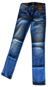 7 For All Mankind Designer Summer Straight Leg Jeans-Medium Wash
