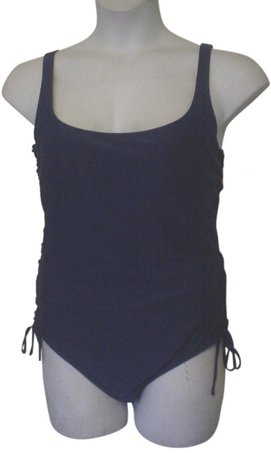 Item - Blue XL Solid Pattern Lace Up Padded Cup 16 One-piece Bathing Suit Size 18 (XL, Plus 0x)