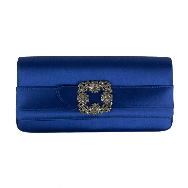 Item - Satin 'gothisi' Jewel Buckle Wallet Blue Leather Clutch