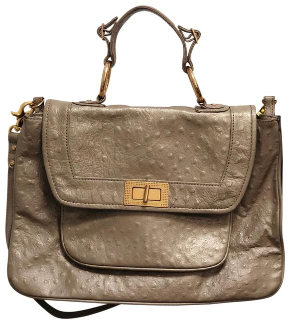 Item - Covet Beige Gold Grey Ostrich Leather Messenger Bag