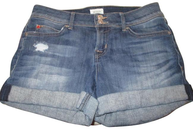 Item - Blue Distressed Croxley Mid Thigh Stretch Denim Shorts Size 2 (XS, 26)