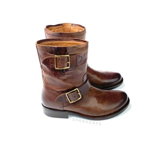 Item - Brown Dark Leather Vicky Engineer Boots/Booties Size US 6 Regular (M, B)