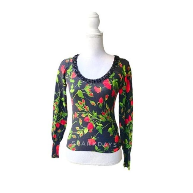 Item - Black Red XS Rose Knitted Beaded Knit | Cardigan Size 0 (XS)