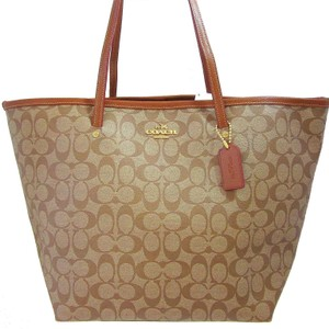 Coach Leather Trim Large Canvas Tote in Khaki / Saddle Brown
