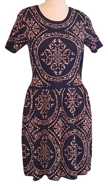 Item - Black Brown Sweater Mid-length Short Casual Dress Size 6 (S)