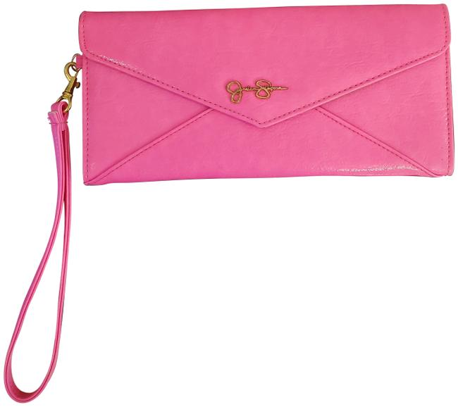 Item - Wristlet Fluorescent Pink Manmade Leather Clutch