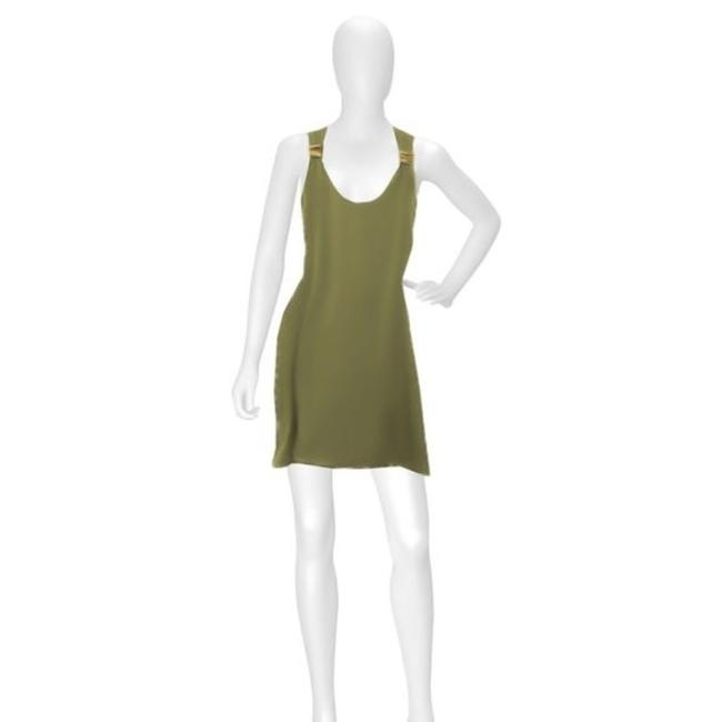 Item - Green Olive Silk Racerback Tank Top Small Short Casual Dress Size 4 (S)
