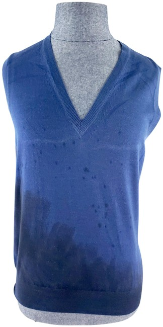 Item - Yves Ysl Wool Splatter V Neck Vest Blue Black Sweater