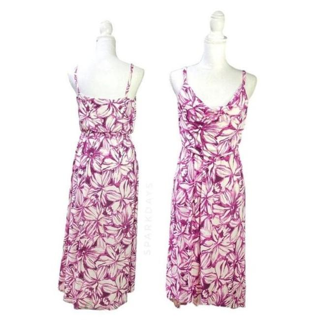 Item - White Pink Floral Cowl Strappy Midi High Low Strappy Summer Mid-length Cocktail Dress Size 4 (S)