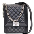 CHANEL North South Boy Lambskin Leather Cross Body Bag