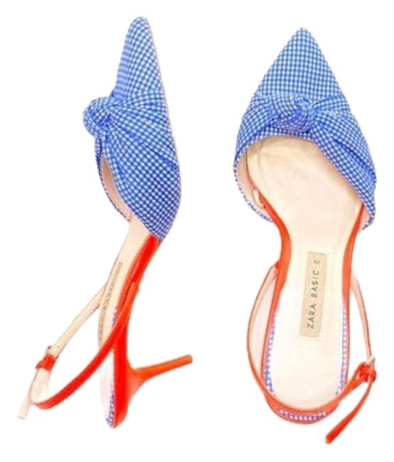 Item - Blue White Gingham Orange Slingback Kitten Pointed Sandal He Pumps Size EU 36 (Approx. US 6) Regular (M, B)