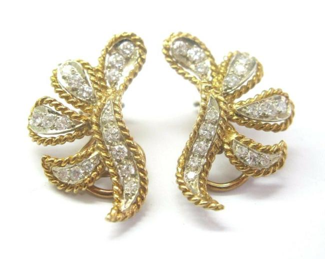 Item - Yellow Gold Floral Rope Diamond Solid Drop 14k 1.20ct F-vs1 1 Earrings