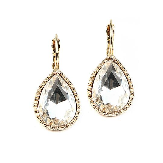 Gold Set Of 5 Pairs Of Crystal Pear Shaped Maids Earrings