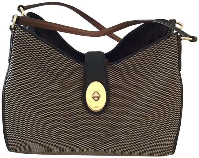 Item - Carlyle Madison Black Leather and Fabric Shoulder Bag