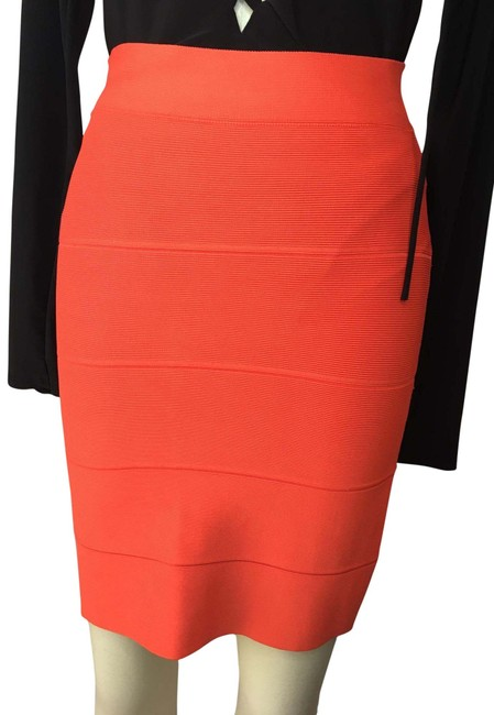 Item - Orange Stretch Power Skirt Mid-length Cocktail Dress Size 4 (S)