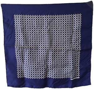 Hermès Hermes Vintage Navy Blue Silk Pocket Square