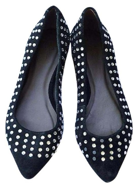 Item - Black Rhinestone Suede Pointed Toe 6.5 Flats Size EU 37 (Approx. US 7) Regular (M, B)