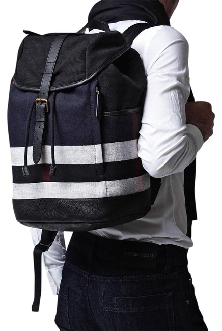 Item - London Check and Zip Around Black Canvas / Leather Backpack