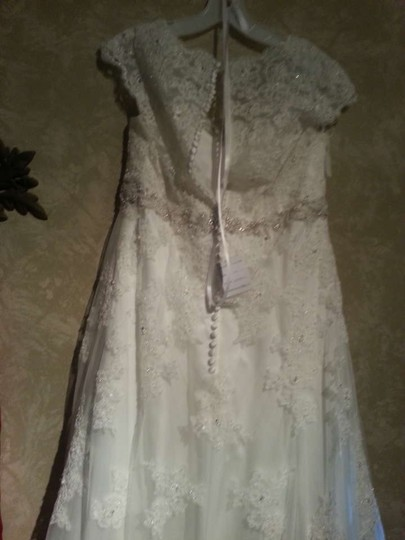 David's Bridal Cap Sleeve Lace Over Satin Gown With Illusion Back Wedding Dress