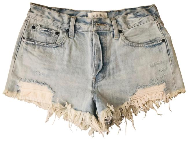 Item - Light Wash/Distressed Daisy Chain Lace Cutoff Denim Shorts Size 6 (S, 28)