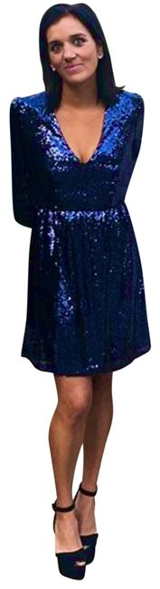 Item - Deep Blue Camille Long Sleeved Sequined Short Cocktail Dress Size 2 (XS)