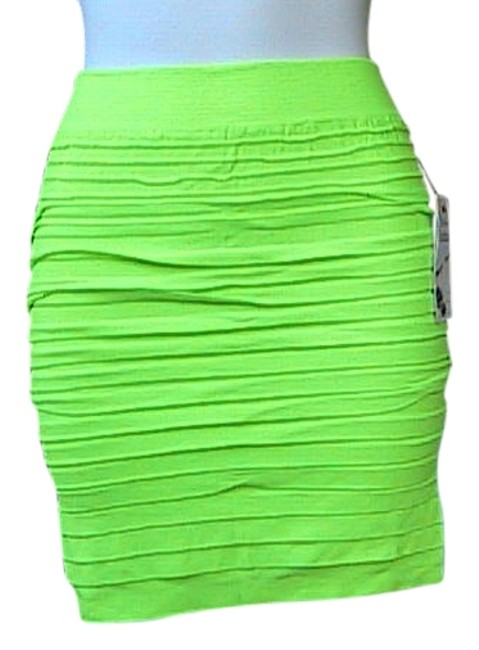 Lotus Seamless Fitted Stretch Bodycon Mini Skirt Fluorescent Green
