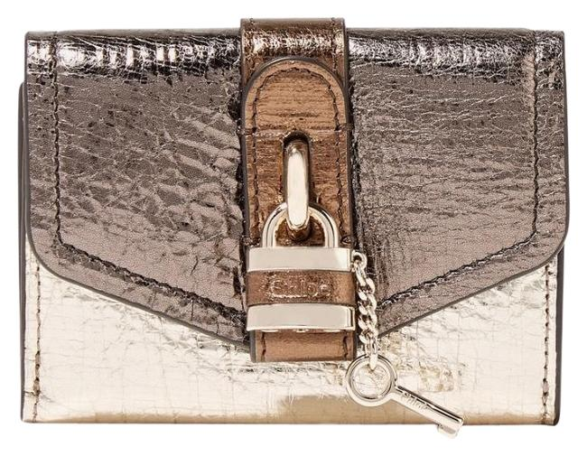 Item - Gold Aby Lock Metallic Color-block Textured-leather Wallet