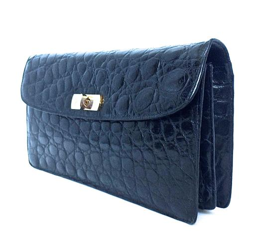 Guy Laroche Alligator Crocodile Vintage Black Clutch