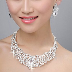 Ever Faith Bridal Cluster Flower Teardrop Clear Austrian Crystal Necklace Earrings Set