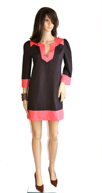 French Connection short dress Brown/Coral Colorblock Color-blocking Cotton Mini Shift Sleeve Bracelet Sleeve Fully Lined Women Clothing Fashion on Tradesy