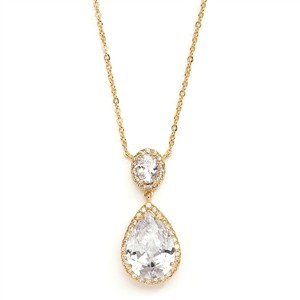 14k Gold Cz Pear-shaped Bridal Necklace