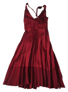 Bebe Plea Pleated Satin A-line Dress