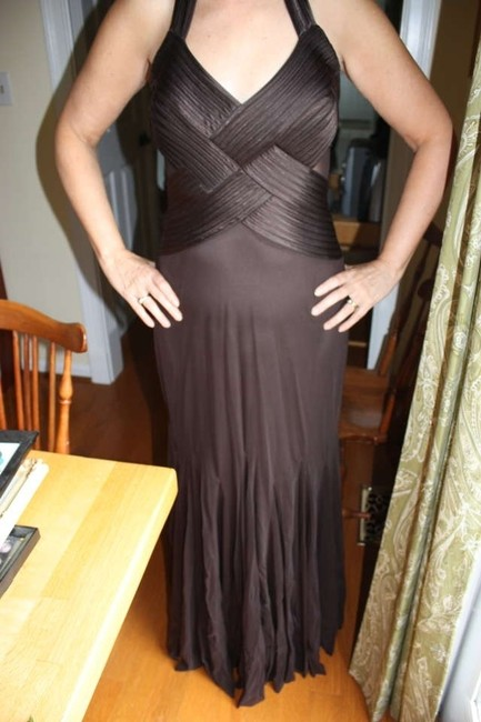 Item - Chocolate Brown Synthetic Stretch with Mesh Overlay and Satin Detail Elegant Crossover Halter Cutouts Sexy Bridesmaid/Mob Dress Size 8 (M)