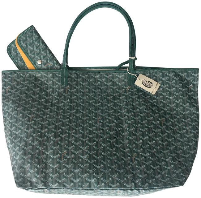 Item - Classic Chevron St. Louis Gm Green Leather/Canvas Tote