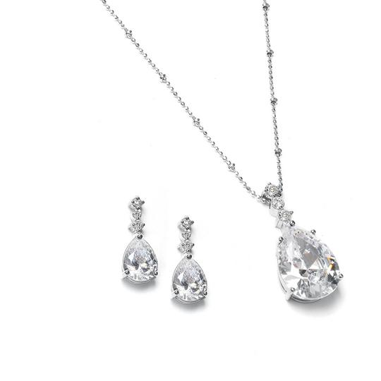 Silver Brilliant Cz Pear Shaped Drop Necklace Jewelry Set