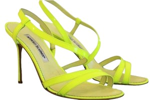 Manolo Blahnik Fluorescent Neon Highlighter Yellow Patent Gucci Jimmy Choo Sandals