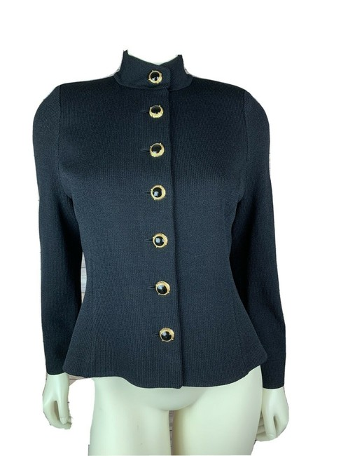Item - Black Long Sleeve Santana Knit Style with Gold Buttons Jacket Size 8 (M)