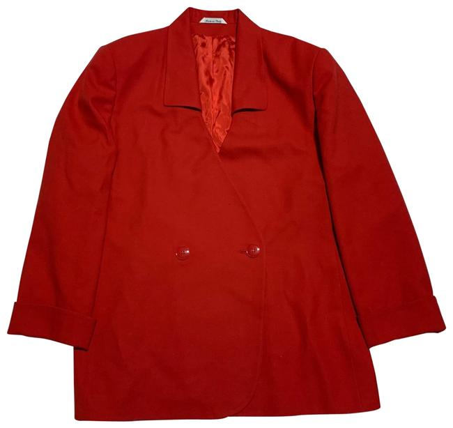 Item - Red Donna Virgin Wool Double Breasted Blazer Size 16 (XL, Plus 0x)