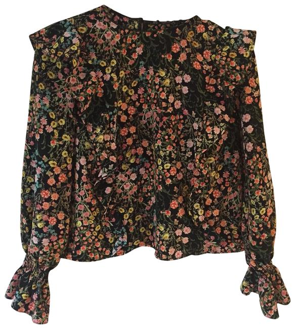 Zara Black Ruffle Sleeves Blouse Size 4 (S) Zara Black Ruffle Sleeves Blouse Size 4 (S) Image 1