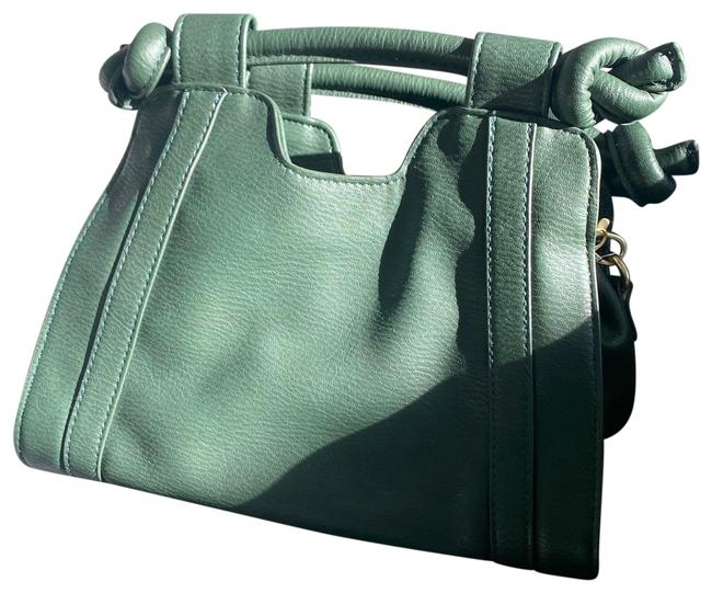 Item - Crossbody Handle Forest Green Leather Baguette