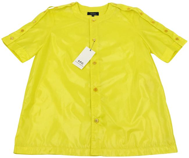 Item - Yellow Neon Short Sleeve Shirt Button-down Top Size 6 (S)