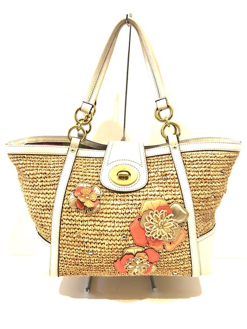 Item - Tote Bag Hampton's Weekend Floral Ivory/Peach/Coral/Gold Straw/Leather Satchel