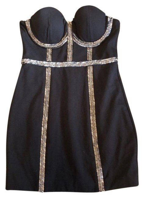 Item - Black and Silver Beaded Short Night Out Dress Size 8 (M)