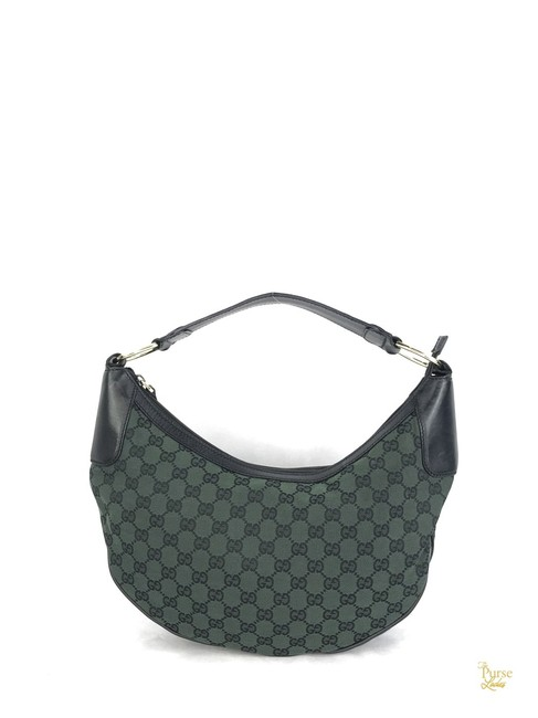 Item - Leather #29509 Green Gg Canvas Hobo Bag