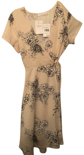 Lush Taupe Sheer Floral Mid-length Short Casual Dress Size 0 (XS) Lush Taupe Sheer Floral Mid-length Short Casual Dress Size 0 (XS) Image 1