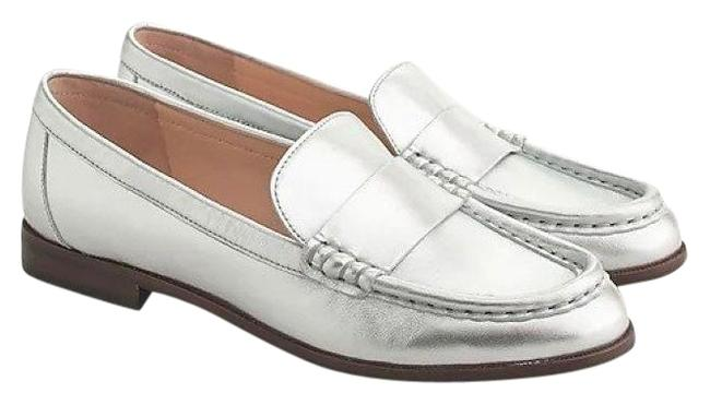 Item - Silver Leather Penny Loafers Flats Size US 7.5 Regular (M, B)